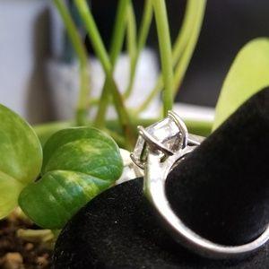 Fashion Jewelry Jewelry - Silver Princess Cut Engagement Ring